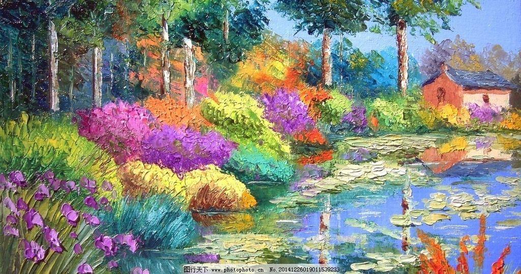 多彩花卉画 美术 油画 风景 花卉 色彩斑斓 树木 房子 湖边 倒影 设计