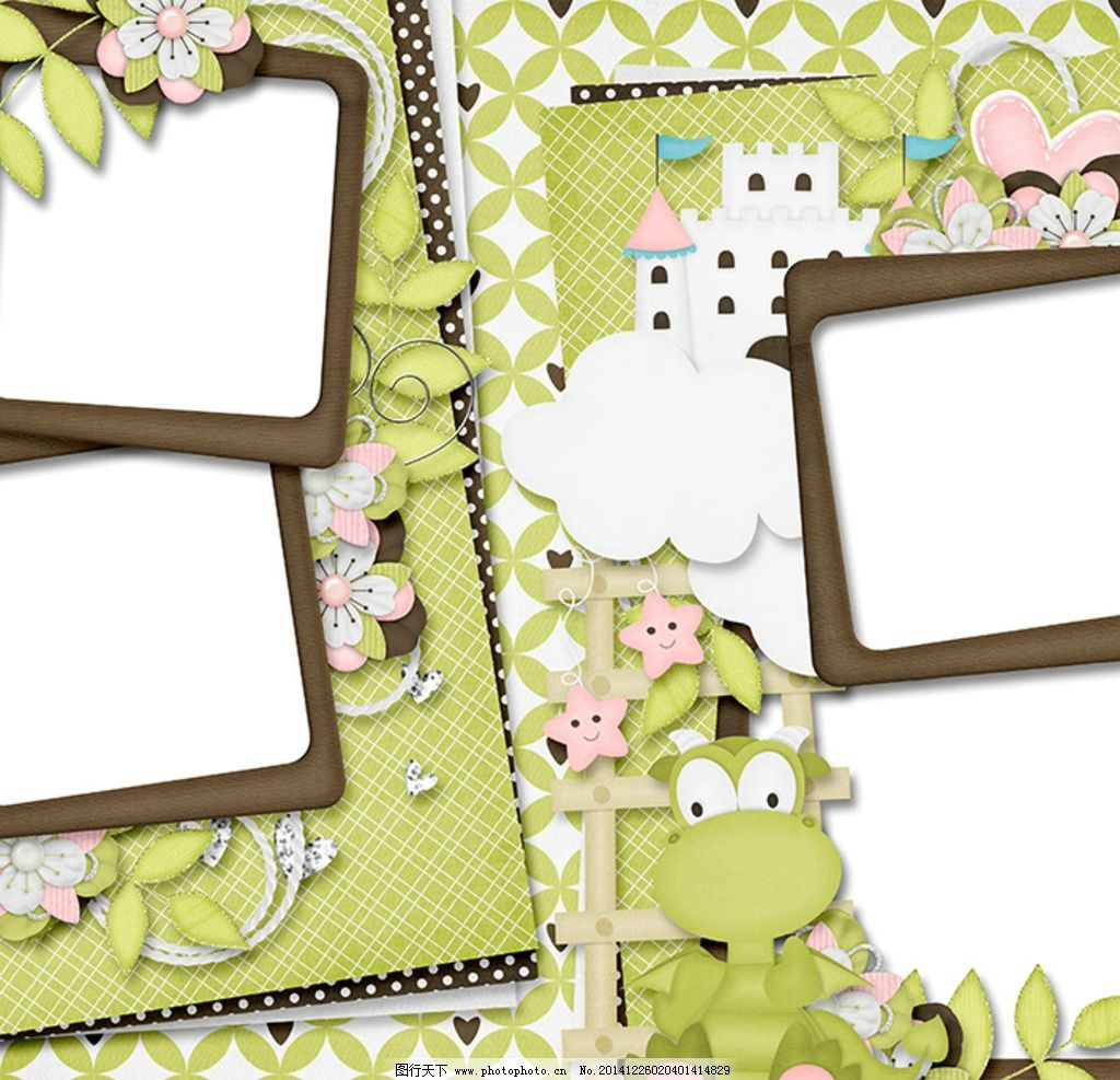 可爱电子相框 方形相框 小恐龙 蛋糕 相册框花边 设计 底纹边框 边框