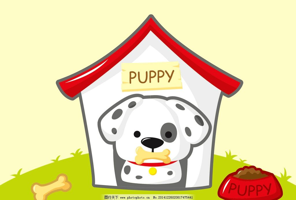 puppy 小狗背景 草地 可爱小狗 狗骨头 狗用品矢量 卡通狗 狗窝 狗屋