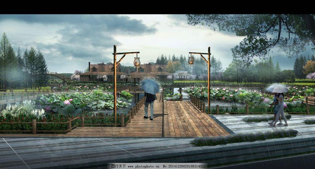 荷花 木栈道 木平台 景观 绿化 生态入口 景观效果图 设计 环境设计