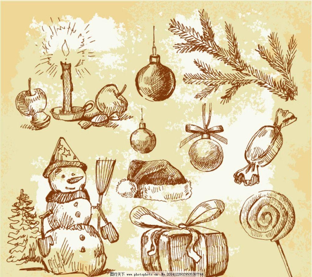 圣诞节手绘素材 雪人手绘 圣诞树枝手绘 糖果手绘 圣诞帽手绘 蜡烛