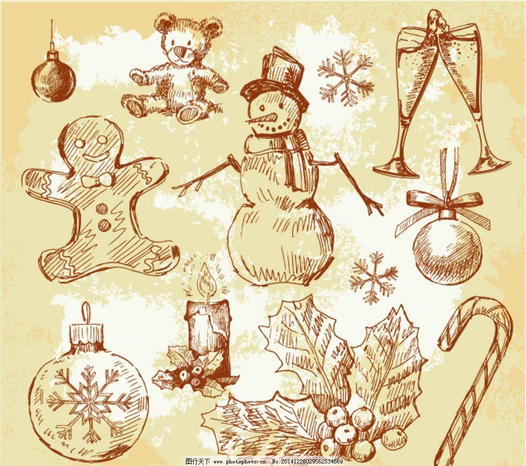 手绘雪人 手绘圣诞球 手绘圣诞拐 手绘蜡烛 手绘绿叶 手绘酒杯 设计