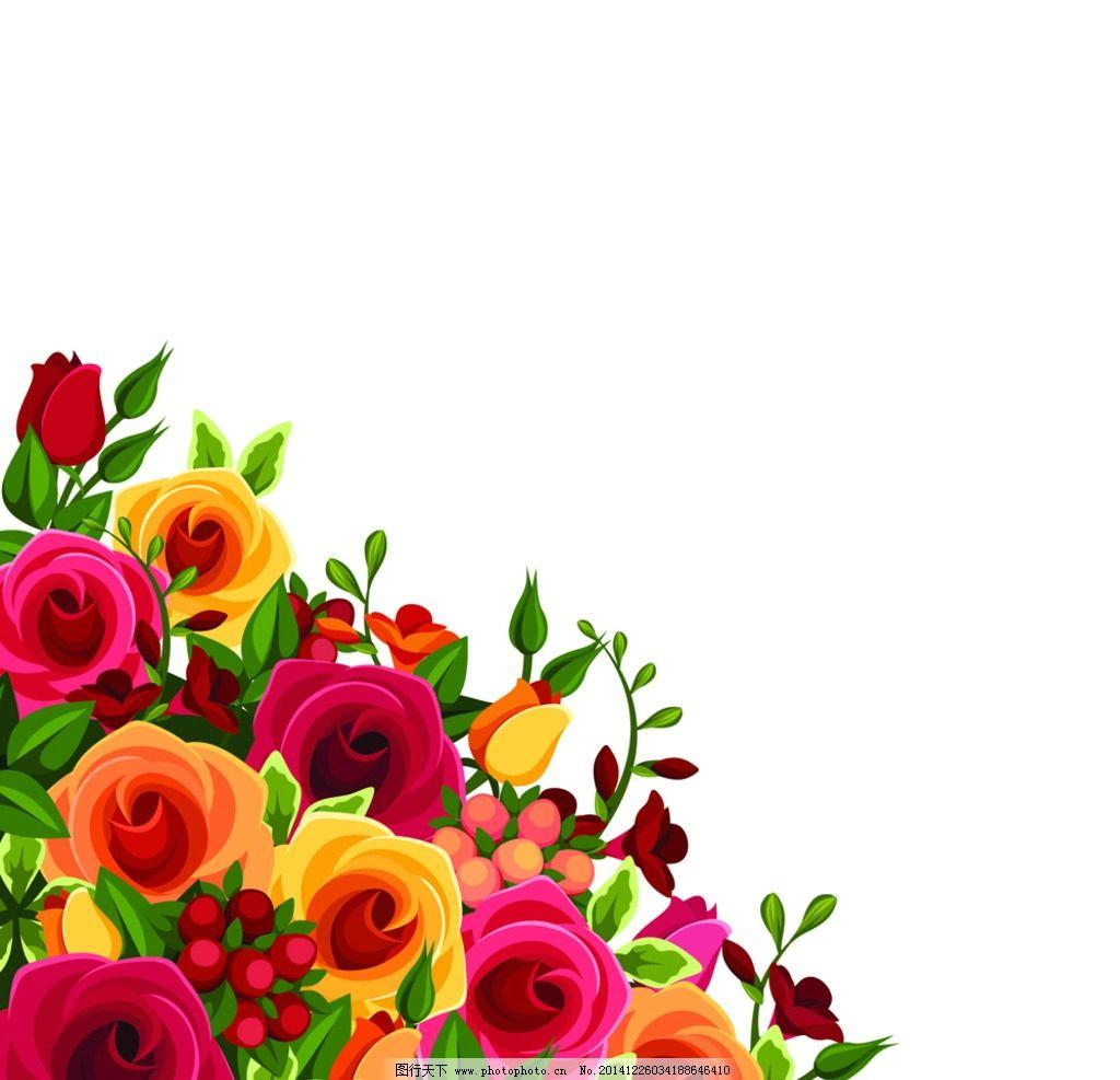 玫瑰花 七夕 情人节 手绘玫瑰花 rose 手绘花卉 粉红 绿叶 手绘 玫瑰