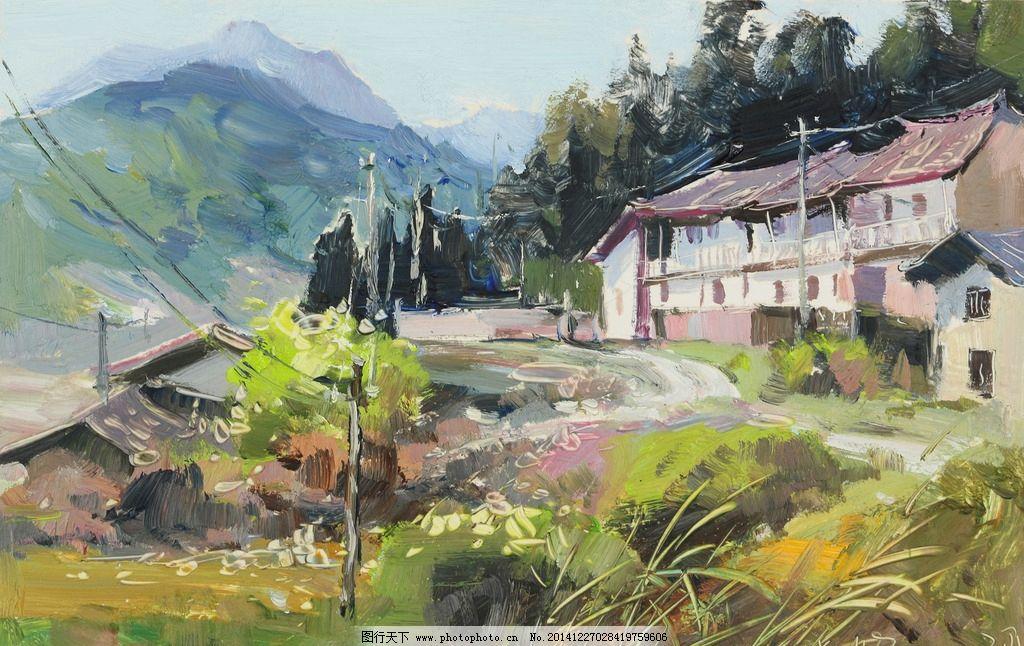 复古欧式乡村田园房子油画