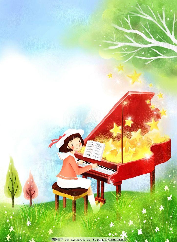 手绘弹钢琴的女孩风景插画图片