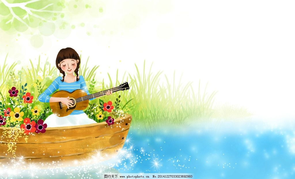 手绘女孩 弹吉他的女孩 小木船 光芒 湖水 手绘鲜花 浪漫 唯美背景
