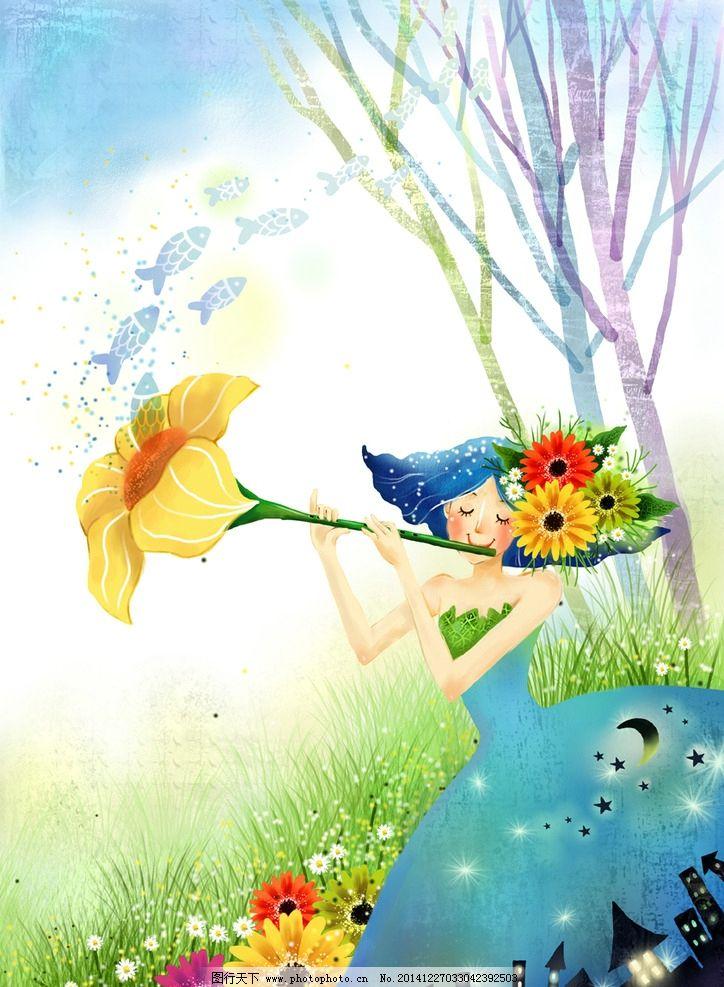 手绘吹笛子的女孩风景插画图片