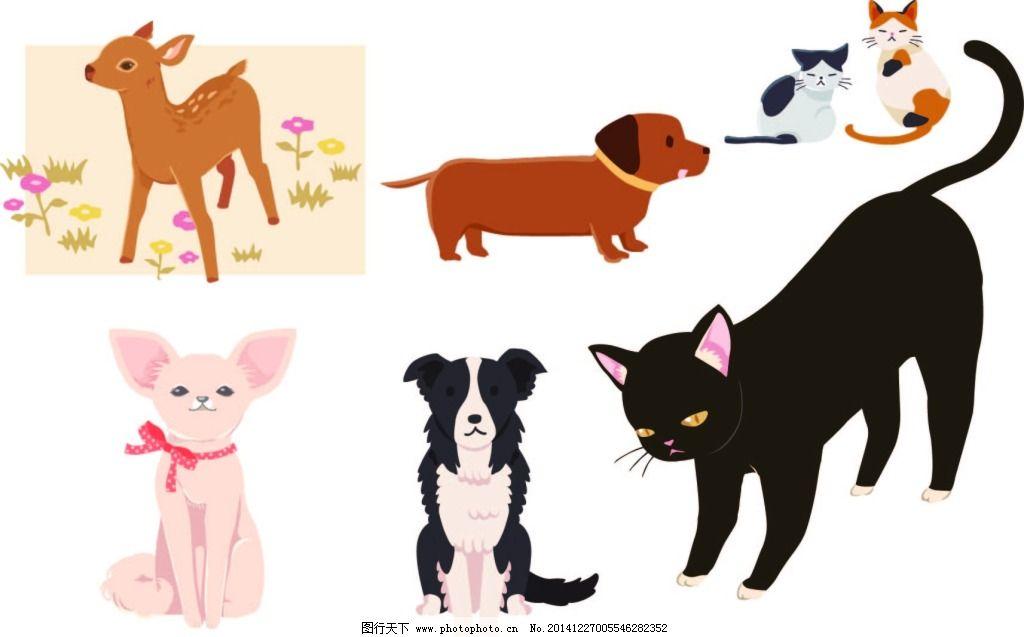 可爱动物矢量图