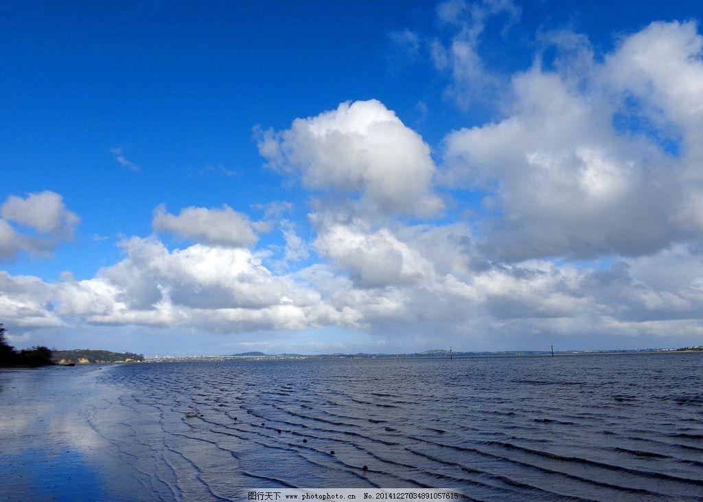 新西兰海滨自然风光 天空 蓝天 白云 远山 大海 海水 海浪 海滩