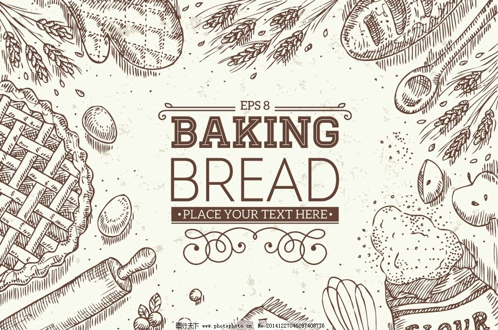 面包 点心 烤面包 面包美食 小麦 麦穗 食物 西餐 早餐 手绘面包 西餐