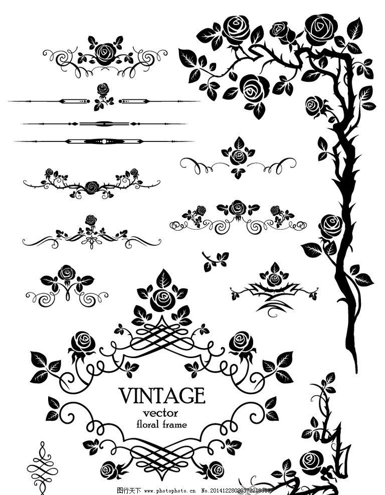 花纹 花边 边框 花纹分割线 玫瑰花 花卉 装饰花纹 欧式花纹 花纹背景