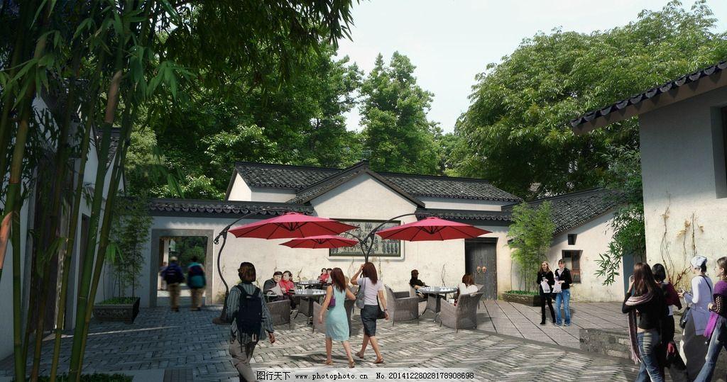 风景中式建筑 风景区 居住区 森林公园 效果图人行道 铺装 景观 绿化