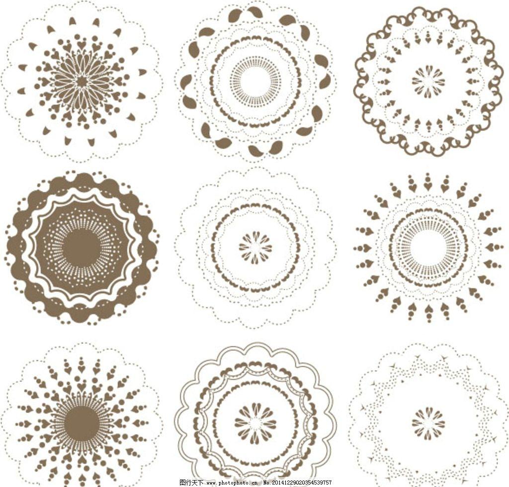 欧式 花纹 五角花纹 圆形花纹 异形花纹 设计 底纹边框 花边花纹 eps图片