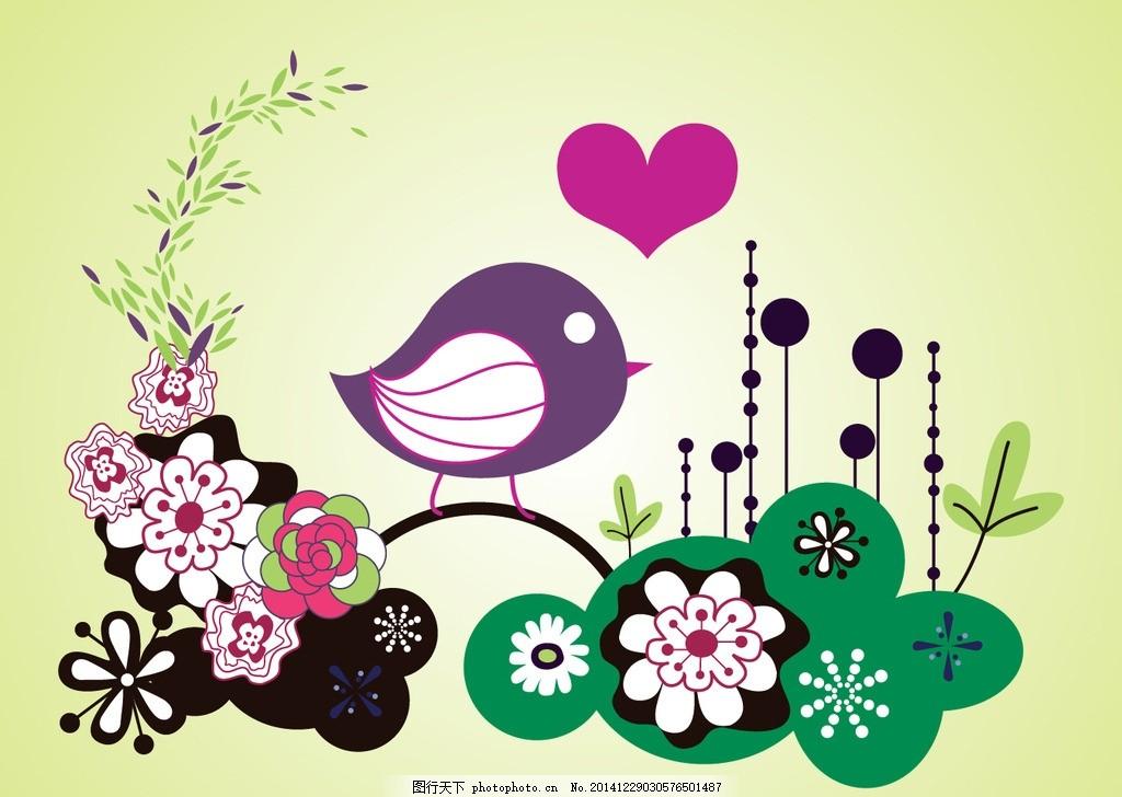 小鸟背景 小鸟 爱心 花朵 春天 可爱矢量 图案图片 矢量元素 春天小