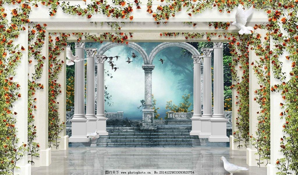 电视背景墙图 欧式风景 3d电视背景 罗马柱背景墙 壁纸 壁画 园林蔷薇