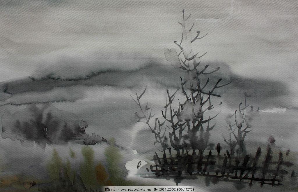 雨中小路 美术 水彩画 风景 乡野 树木 植物 雨景