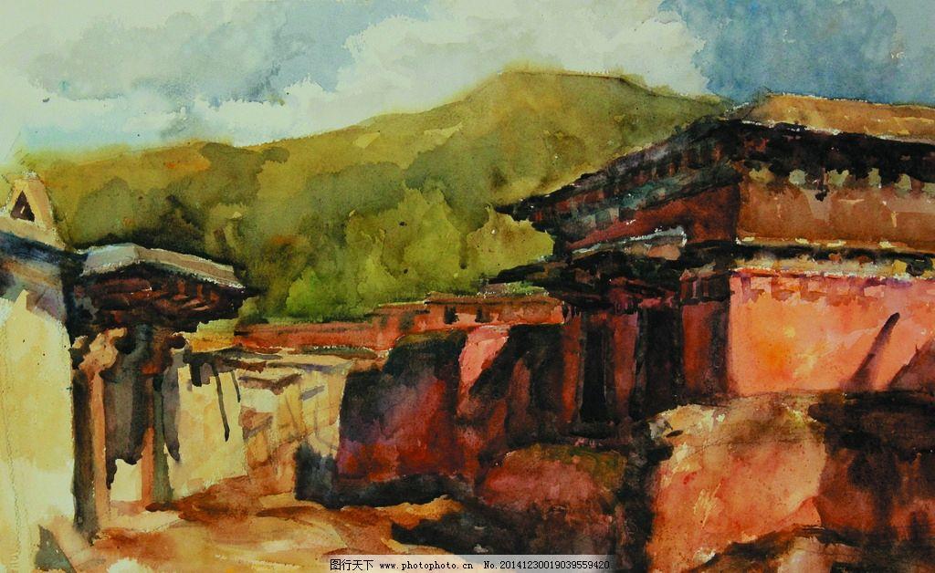 西北古建筑图片,美术 水彩画 风景 乡村 房屋 村道-图