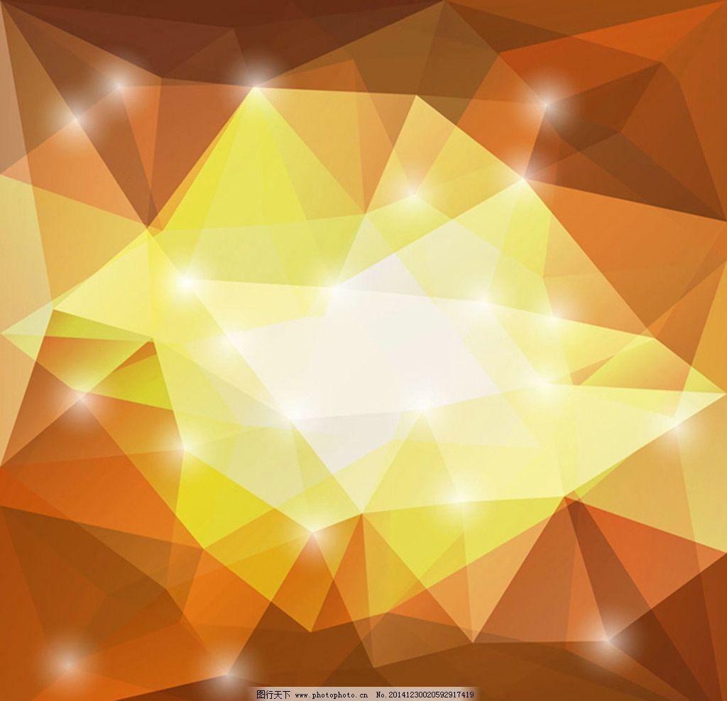 橙色渐变背景 金色图形 几何图形 背景素材 图案背景 矢量图 eps ai
