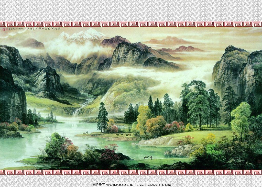 艺术玻璃 彩图 山水画 树 山峰 水墨画      设计 底纹边框 移门图案图片