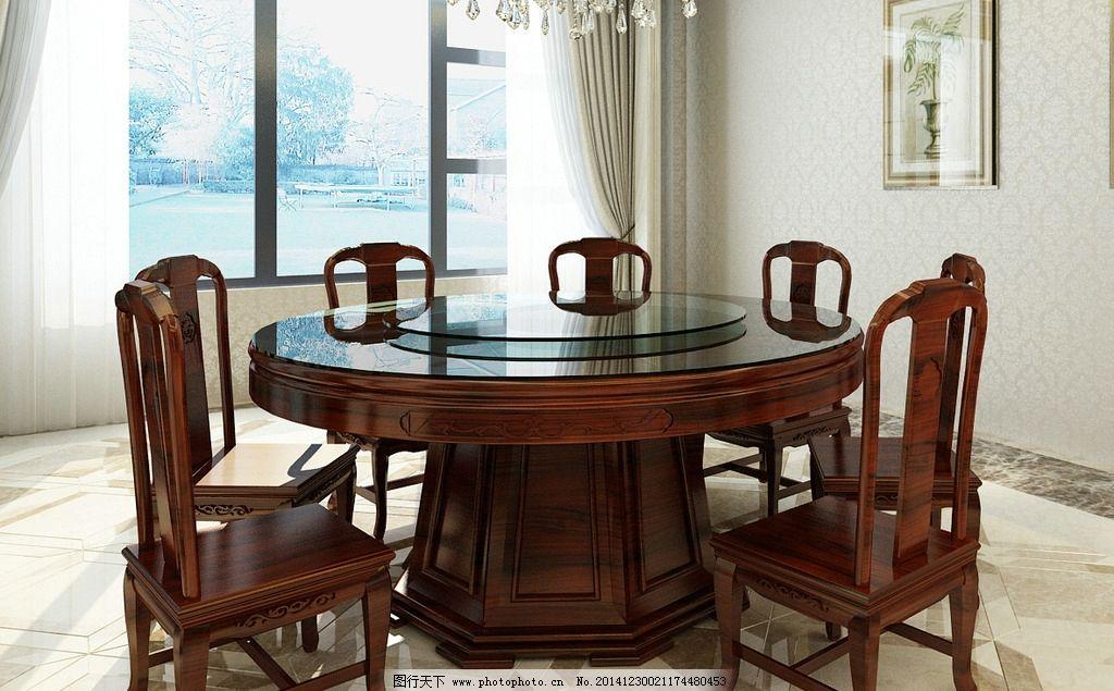 中式圆餐桌 中式明式红木餐桌图片