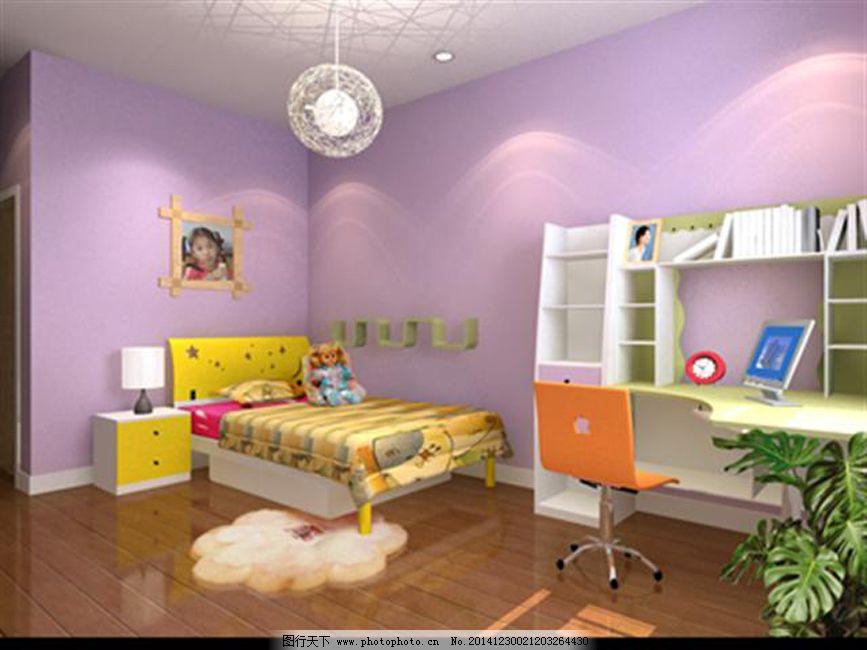 儿童房模型 儿童房模型免费下载 灯具模型 室内设计 卧室模型 卧室