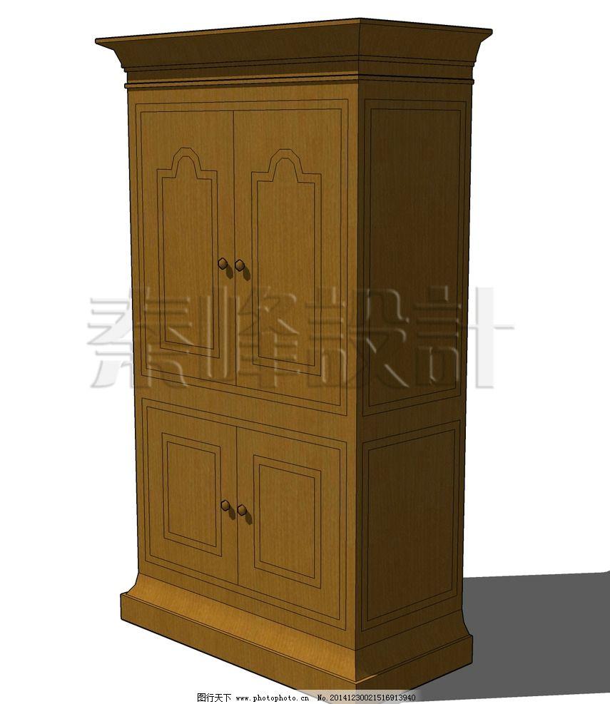 复古棕色木柜图片