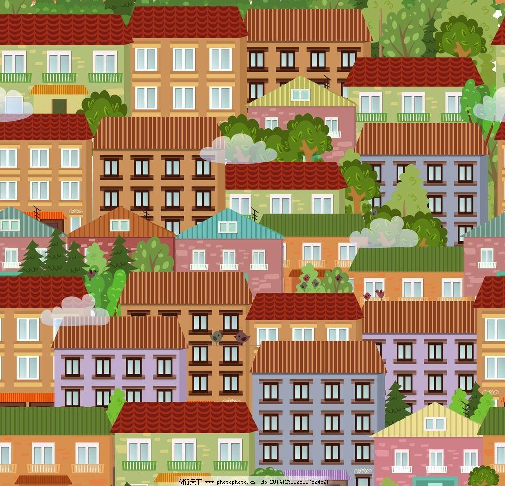 卡通建筑 城市建筑 手绘建筑 建筑模型 建筑插画 漫画背景 矢量 环境