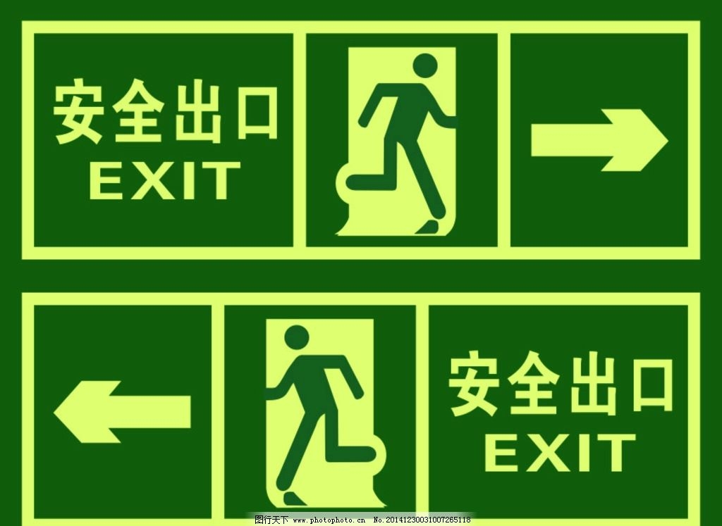 安全通道指示 安全出口 矢量 人