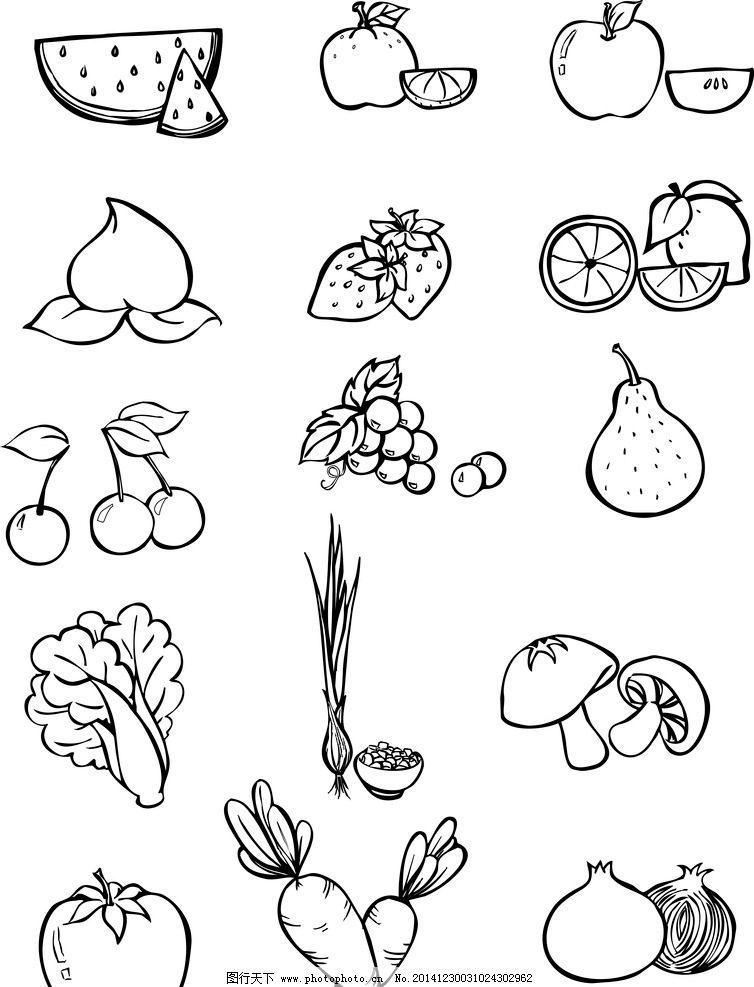 水果 西瓜 桃子 大白菜 雪梨-幼儿盘子线条画 幼儿简单线条画