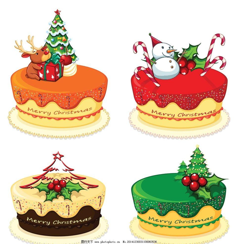 蛋糕 面包 手绘 美食 生日蛋糕 圣诞节 水果 奶油 早餐 营养