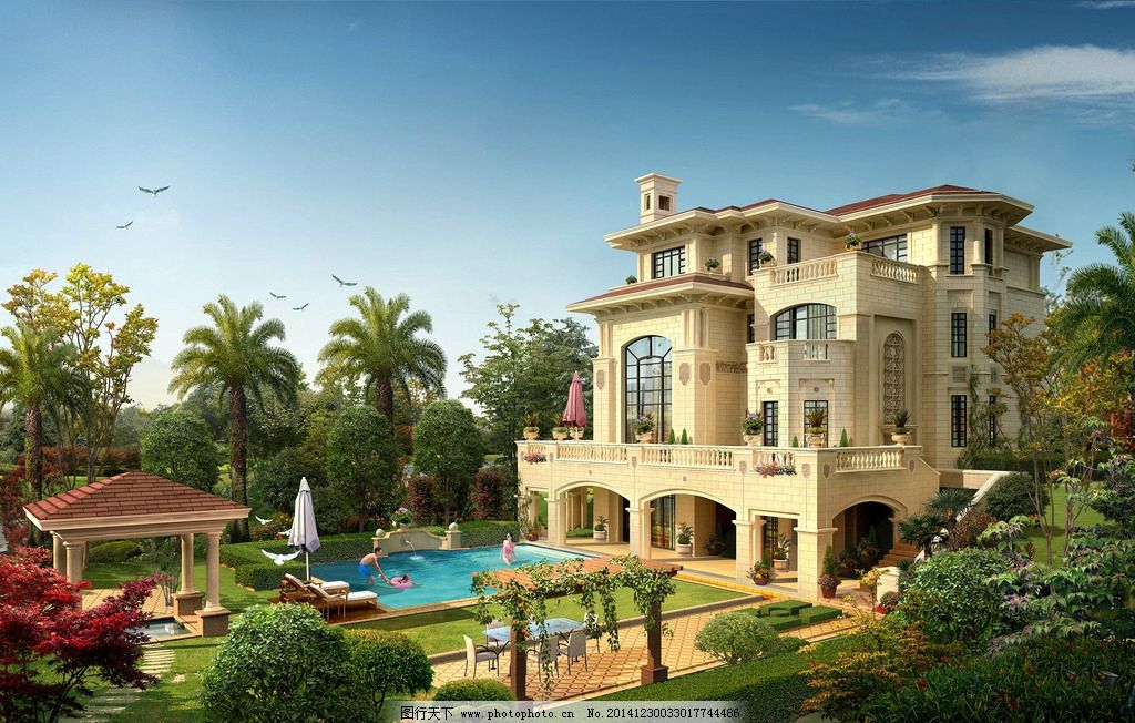 别墅 欧式别墅 别墅泳池 别墅效果图 景观园林设计 环境设计 豪华别墅