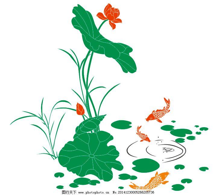 池塘荷花小鱼戏水图片