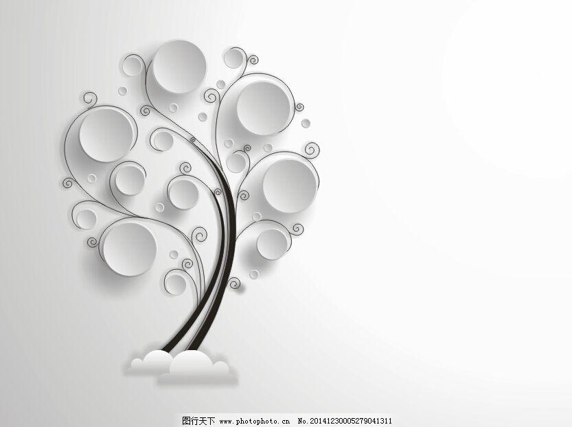 黑白抽象树木矢量图图片