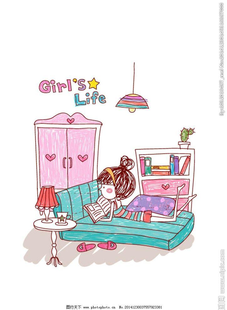 女孩线描手绘绘画图片