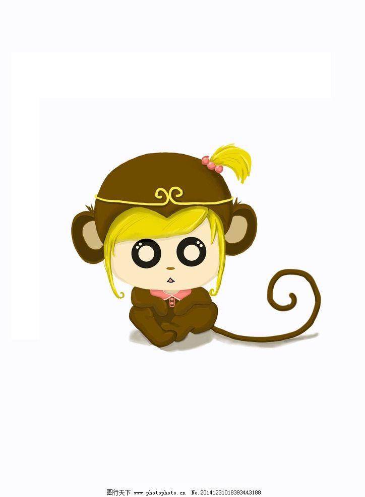 手绘 卡通 猴子 q版 可爱 女孩  设计 动漫动画 动漫人物 300dpi jpg