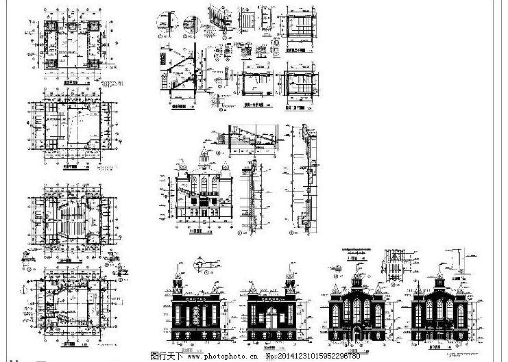教堂施工cad图纸 教堂建筑 结构图 平面图 设计图 施工图 施工图