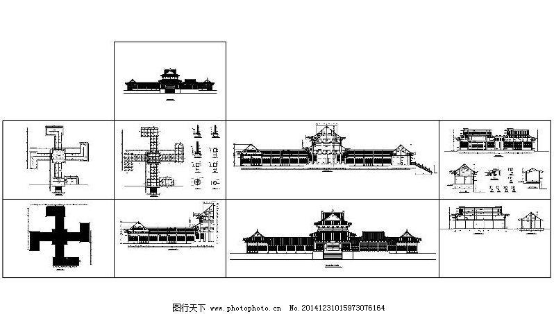 罗汉堂建筑cad图纸,古建筑 建筑图 平面图 设计图-图